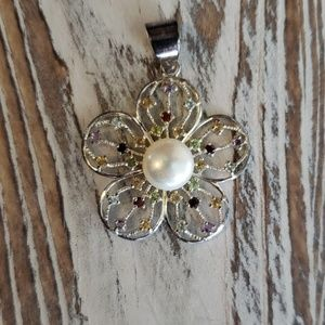 Jewelry - Genuine Multi-stone &Cultured Pearl flower pendant